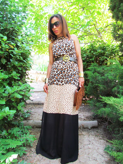 animal-print-dress-denny-rose--pv-2015-moda-tendencias-vestido-largo-cinturon-michael-kors