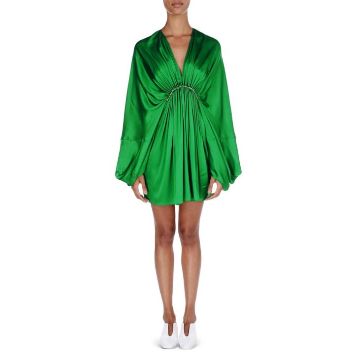 vestido verde de raso-green dress-stella mcCartney-coleccion crucero-tropical style