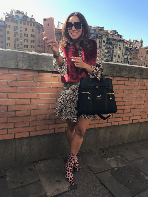 mango-animal-print-dress-bachiller-vest-dolce-and-gabbana-glasses-henri-bendel-monogram-backpack