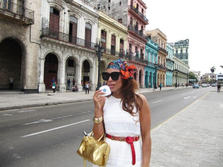 smile brilliant, moschino belt-yves saint laurent bag-celine sunglasses-white long dress