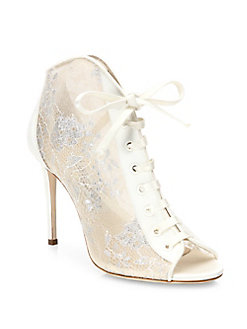 jimmy choo booties, laces leather peep toes, white shoes