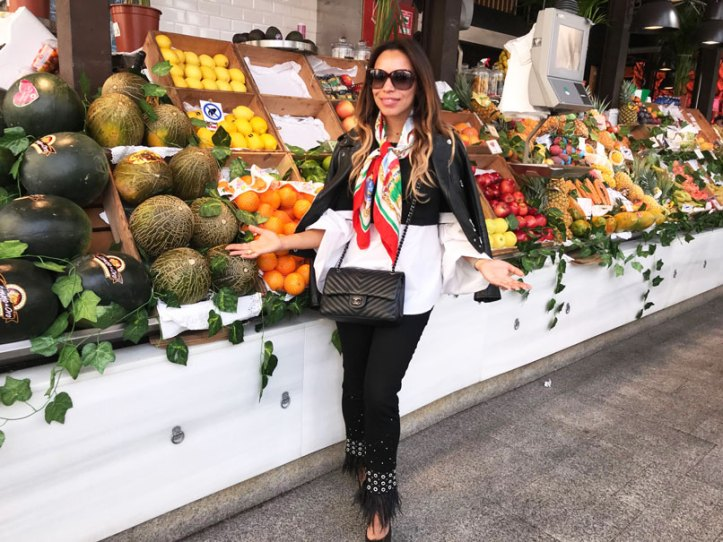 mercado san miguel, sandro leather blazer, chanel, sahoco jeans