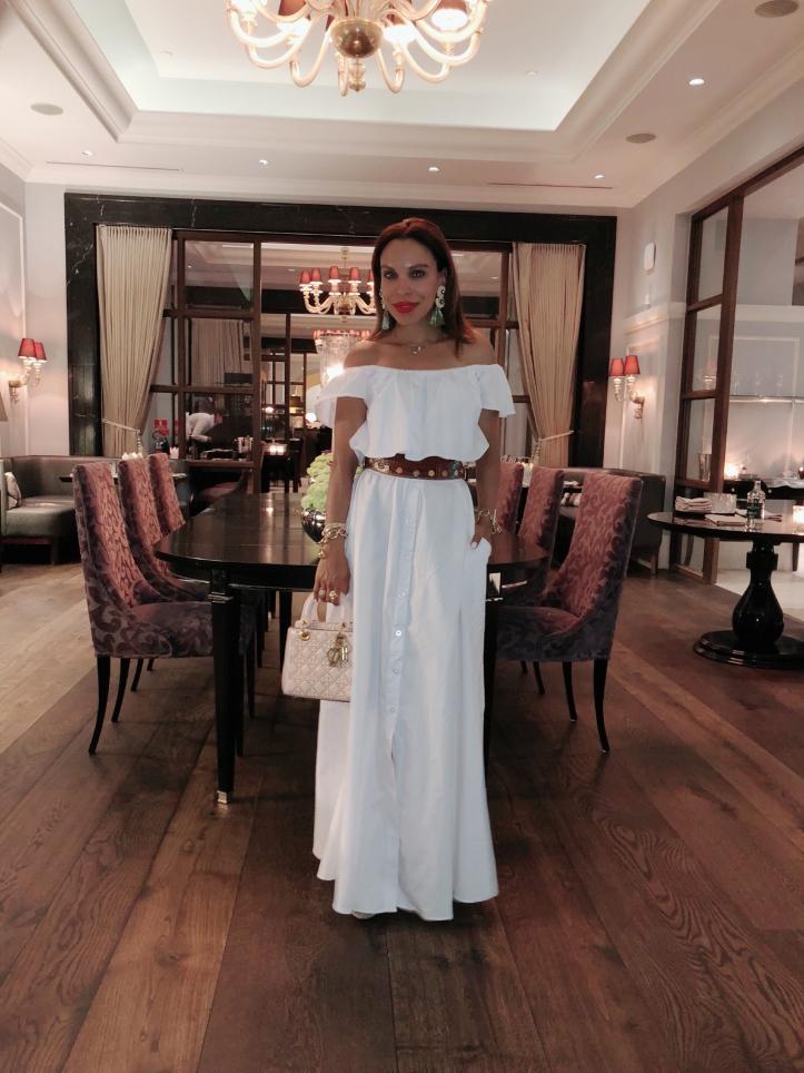 marchal restaurante copenhagen-long white dress-Dior handbag