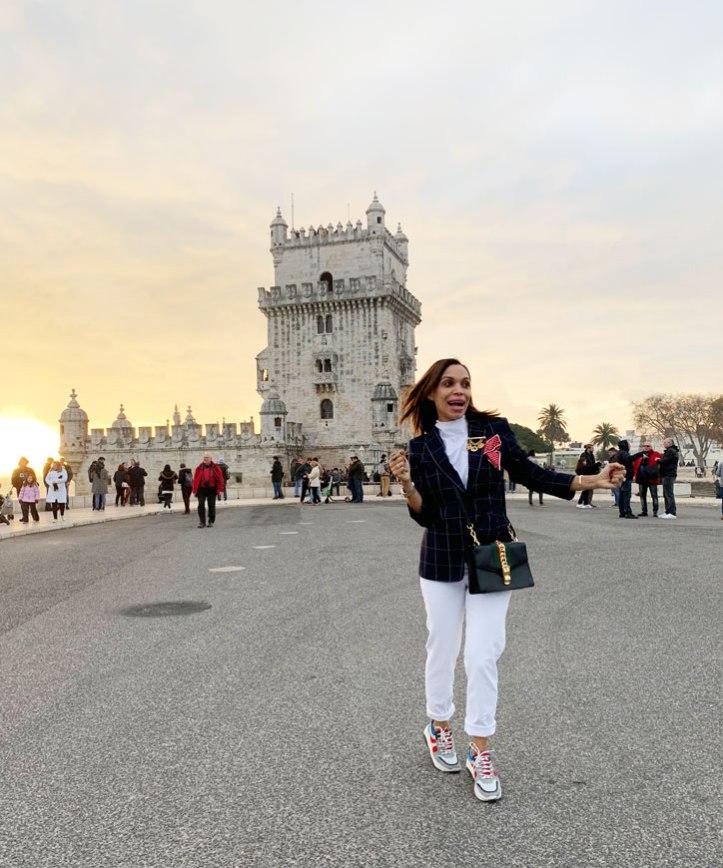 sandro-white-pant-aqua-balenciaga-style-sneakers-belem-tower-lisbon