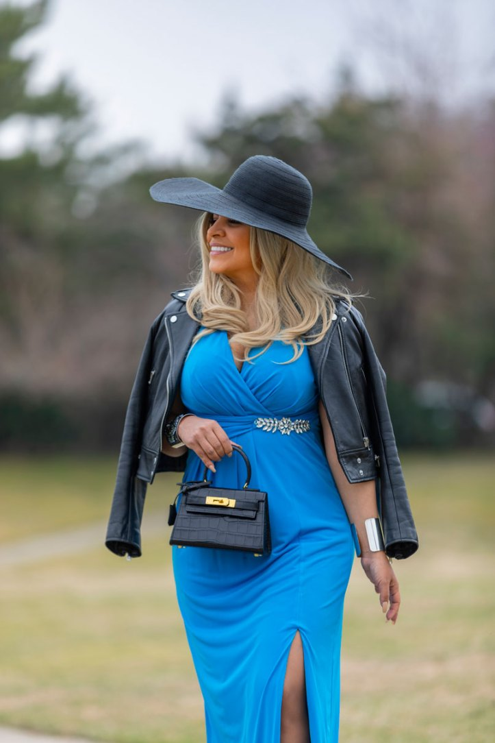 long-blue-dress-sandro-leather-jacket-floppy-hat-mini-kelly-bag